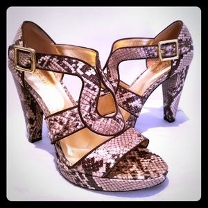 Coach brown python print platform heels